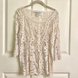 New ! American Rag sheer Lace/ Embroidered tunic